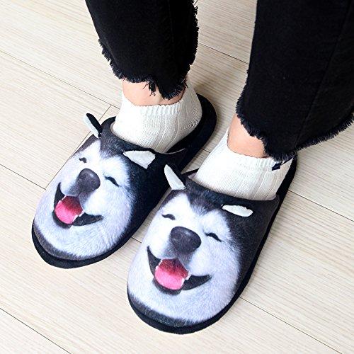 Fankou il cartoon Disney odd pantofole matura in autunno e inverno home per gli uomini e le donne spesso di cotone pantofole antiscivolo interni caldi pantofole, 43-44, locchio del cross-cotone panto