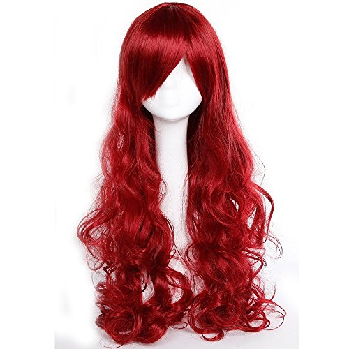 32 Inch Long Wavy Curly Anime Cosplay Wigs with Bangs Japanese Synthetic Hair for Women Girls Halloween Costume Free Wig Cap 10 Colors (Wine Red) ()