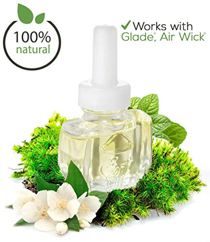(3 Pack) Scented Oil Refills 100% Natural Sanitizing Blend for Glade Air Wick– Peppermint, Jasmine & Oak Moss