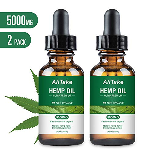 Hemp Oil for Pain & Stress Relief, Alitake 100% Natural Hemp Seed Extract Rich in Vitamin & Omega -Helps with Sleep, Skin & Hair, Zero THC CBD Cannabidiol(2 Pack 5000MG) (Best Cbd For Pain)