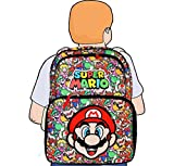 "Disney Marvel Nintendo Super Mario Bros 16"" Backpack with Face & All Over Printing"