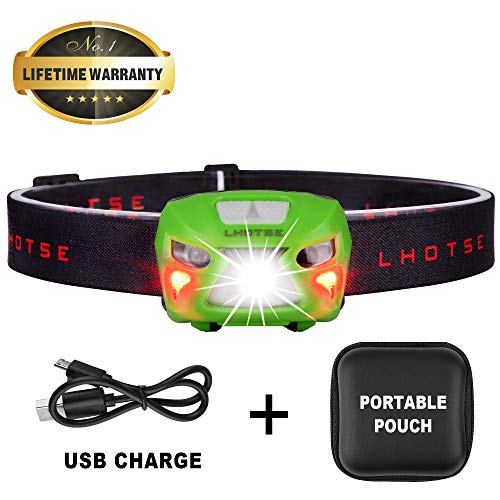 LHOTSE Ultra Bright Portable Hands Free Headlamp, Rechargeable Headlight, 8 Modes White Red Led Lamp, Adjustable Strap, IPX5 Waterproof, Lightweight Flashlight for Camping Running Hiking - (Green)