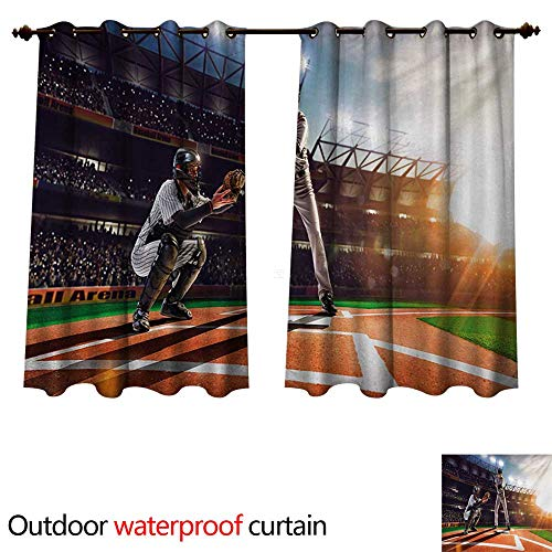 WilliamsDecor Teen Room Outdoor Balcony Privacy Curtain Professional Baseball Players in The Stadium Playing The Game Pich Sports Print W63 x L72(160cm x 183cm)