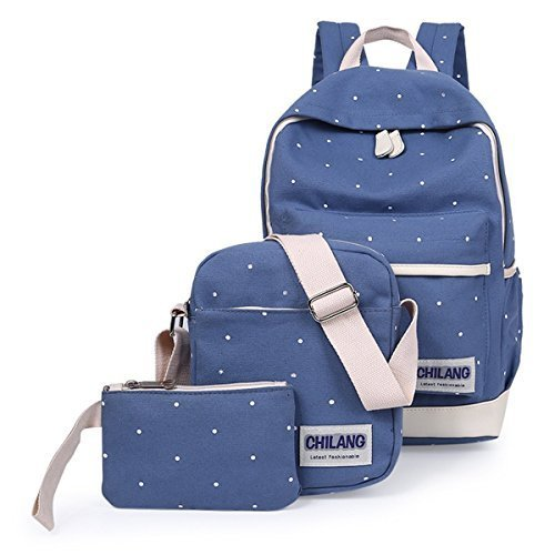 Aseun New Preppy Style Three Piece Wave Canvas Students Backpack Women Backpack Travel Bags