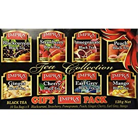 Impra Black Tea Collection Gift Pack 8 Flavors, 80-Count Tea Bags per order 9 Black Tea Collection Gift Pack 8 Flavors, 80-Count Tea Bags per order Flavors included: Blackcurrent, Strawberry, Pomegranate, Peach, Ginger, Cherry, Earl Grey, Mango.