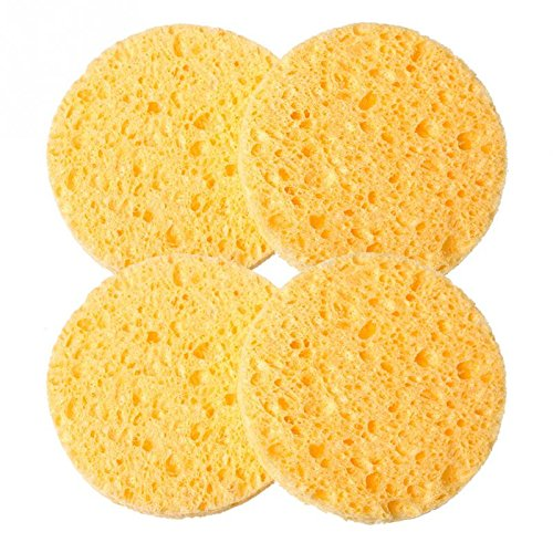 Citizens And Saints Christmas - Deep cleansing sponge facial cleansing sponge - 4 PCs Natural Wood Fiber Face Wash Cleansing Sponge Beauty Makeup Tools Accessories Round Yellow 7cm Dia - Natural Face Wash