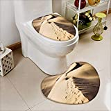 Analisahome 2 Piece Toilet lid cover mat set Sandy dunes in famous natural Maspalomas beach on Gran Canaria Spain Soft Shaggy Non Slip