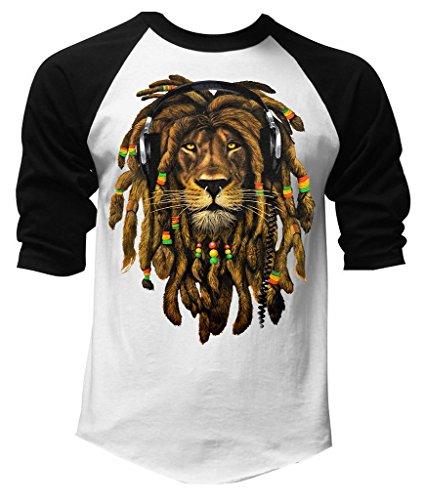 a Lion Headphones Black/White Raglan Baseball T-Shirt Small Black/White ()