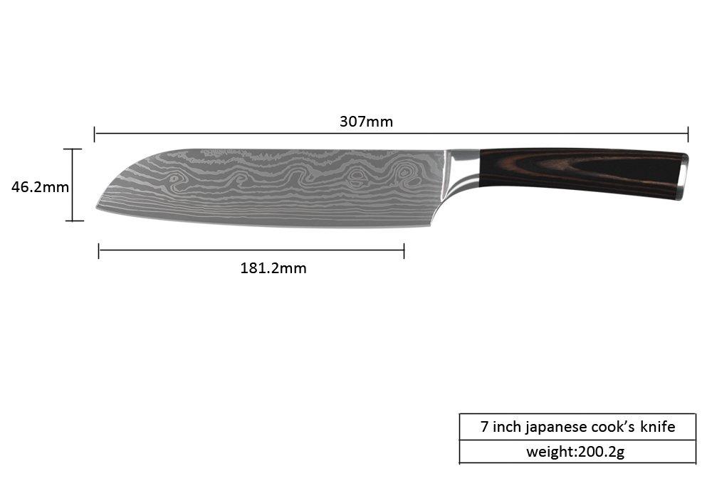 xyj marca utilidad 2 * cuchillo Santoku cuchillo de chef set ...