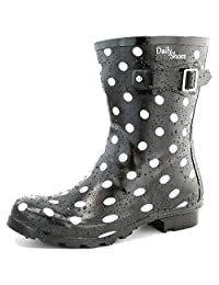 Women's DailyShoes Mid Calf Buckle Ankle High Hunter Rain Round Toe Rainboots