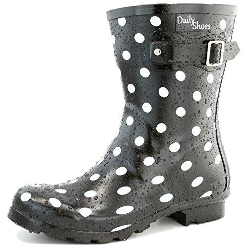 DailyShoes Damen Mittelkalb Schnalle Ankle High Hunter Regen Round Toe Rainboots Schwarz-Weißer Punkt