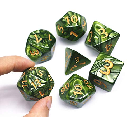 HD Dice- DND Polyhedral Dice Set 25mm Giant Dice for Dungeons and Dragons D&D Pathfinder RPG MTG Role Playing Dice with Dice Bag (Green) ()