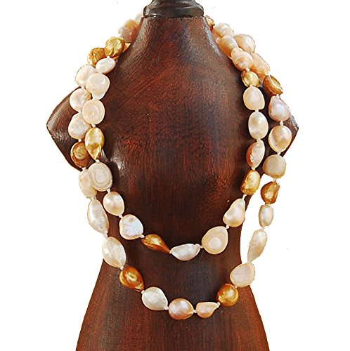 Freshwater Pearl Wheat Pearls (9-10mm Baroque Cultured Freshwater Pearl Necklace Strand Endless Palette Series WHOLE WHEAT 60