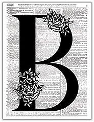 B - Monogram Wall Decor, Letter Wall Art, Dictionary Page Photo Art Print, 8x10 UNFRAMED