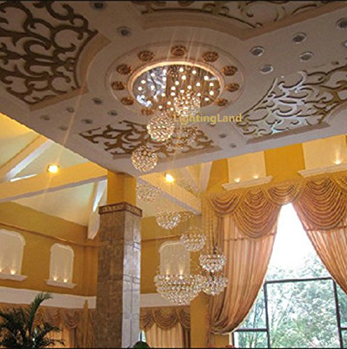 "Get Large Amount Of Illumination With Led Kitchen Ceiling: Siljoy 40"" D X 118"" H With 16 Lights Large 11 Sphere Clear"