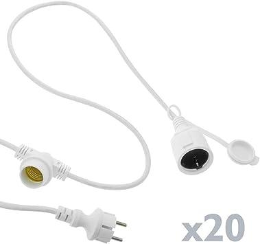 Guirnalda 20 Bombillas Luces con Casquillo E27 Exterior IP44 Cable el/éctrico 20m Extensible Blanco PrimeMatik