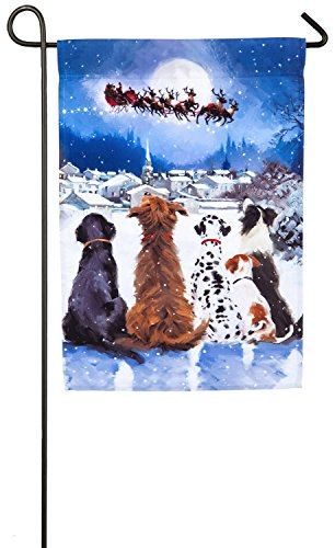 Dog Christmas Decorations - Evergreen Christmas Dogs Satin Garden Flag, 12.5 x 18 inches