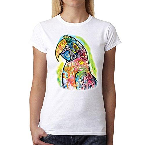 Dean Russo Guacamayo Pájaro Mujer Camiseta XS-2XL Nuevo Blanco