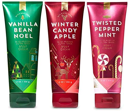 Bath and Body Works 3 Pack Christmas Trio Ultra Shea Body Cream 8 Oz. Vanilla Bean Noel, Winter Candy Apple and Twisted ()