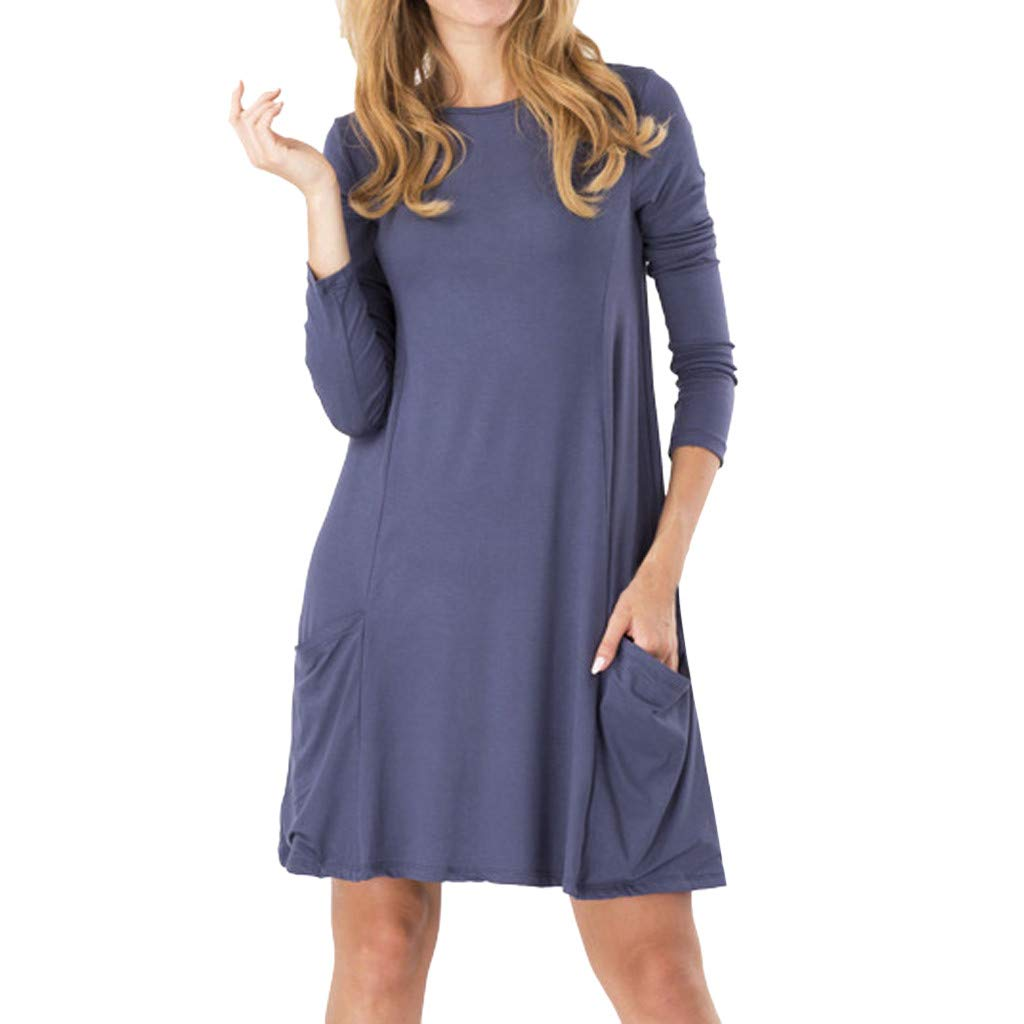 Dress for Women Solid Colors Basic T-Shirt Dresses Plain Simple Tunic Loose Dress Casual Knee Length Dress Pockets Dark Blue by CCOOfhhc