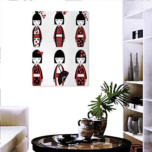 Warm Family Girls Art Stickers Unique Asian Geisha