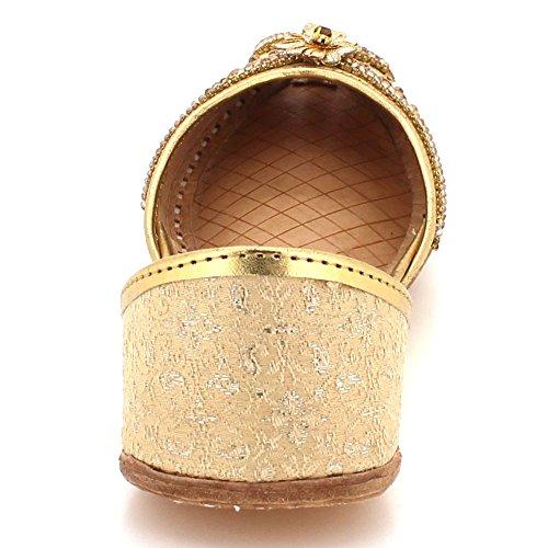 Flat AARZ Size LONDON Ethnic Pumps Gold Leather Traditional Slip Khussa Ladies Peeptoe Women On Shoes Handmade Indian Bridal w0AqHrwx