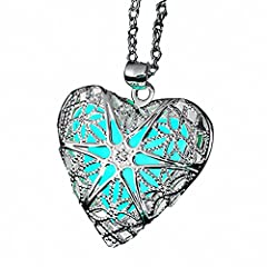 Description: Eloi Jewelry Magical Fairy Glow in the Dark Openwork Heart Locket Pendant Necklace for Teens Girls Material:Pendant Material:AlloyChain Material:925 Sterling SilverPendant Size:1'' x 1'' (Approx.)b>Chain Length:18''inches+2''inches ex...