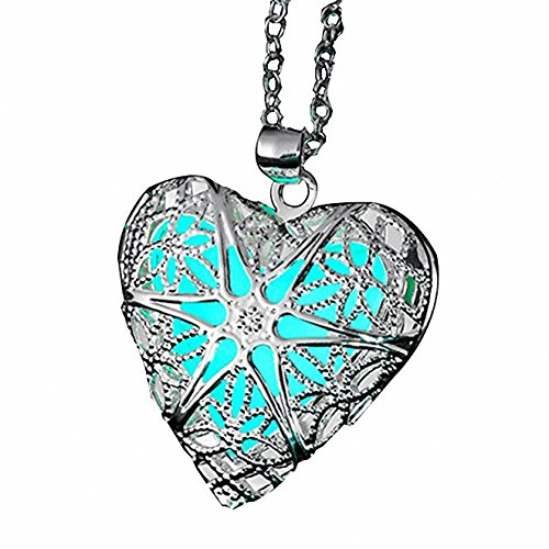 Girls Necklace Heart (ELOI Magical Fairy Glow in the Dark Heart Locket Pendant Necklace for Teen Girl …)