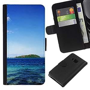 All Phone Most Case / Oferta Especial Cáscara Funda de cuero Monedero Cubierta de proteccion Caso / Wallet Case for HTC One M7 // Tahiti