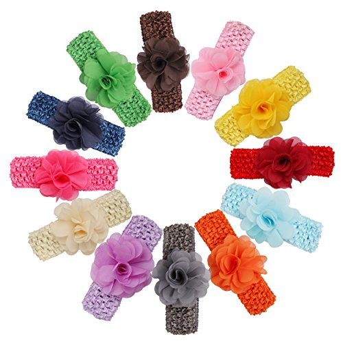Price comparison product image Veenajo 12 Pcs Baby Girl's Soft Headbands With Flower Boutique Hair Accessories