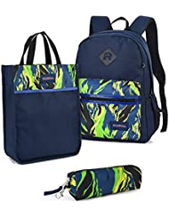 Vbiger 3 in 1 School Backpack Set for Boys with Bookbags Tote Lunch Bag Pencil Case