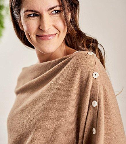 Femme Overs Cachemire Boutonné Camel amp; Wool Poncho Mérinos ztqxw1xv