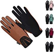 ChinFun Women Horse Riding Gloves Ladies Laser Flower Pattern Anti-Slip Equestrian Gloves Stretchable Sweat Ab