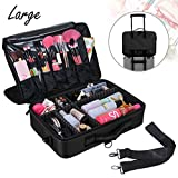 Voilamart Makeup Train Case 3 Layer Large 15.7 Inch, Cosmetic Organizer Travel Makeup Artist Storage Bag with Adjustable Shoulder Strap, for Make Up Beauty Brushes Set Toiletry Jewelry – Black For Sale