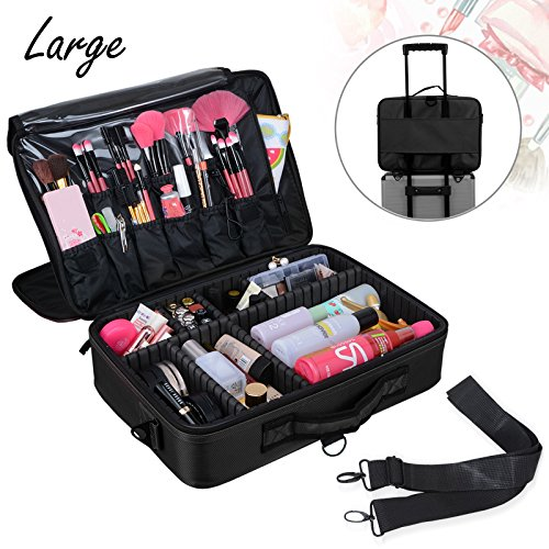 Voilamart Makeup Train Case 3 Layer Large 15.7 Inch, Cosmetic Organizer Travel Makeup Artist Storage Bag with Adjustable Shoulder Strap, for Make Up Beauty Brushes Set Toiletry Jewelry - Black