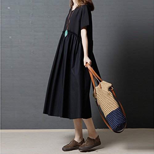 Womens Dresses Clearance Sale! Women's 3/4 Sleeve Casual Loose Cotton Linen Soild High Line Long Dress Daily by ILUCI Womens Dresses (Image #2)