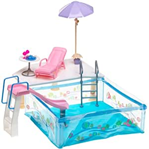 Barbie happy family splash 39 n slide pool toys games for Barbie doll house with swimming pool