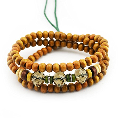 Winter's Secret Yellow Wood Beaded Crystal Bead Handmade Adjustable Dual Purpose Multi Strand Bracelet