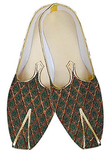 INMONARCH Hombres Dorado y Teal Boda Zapatos MJ011314