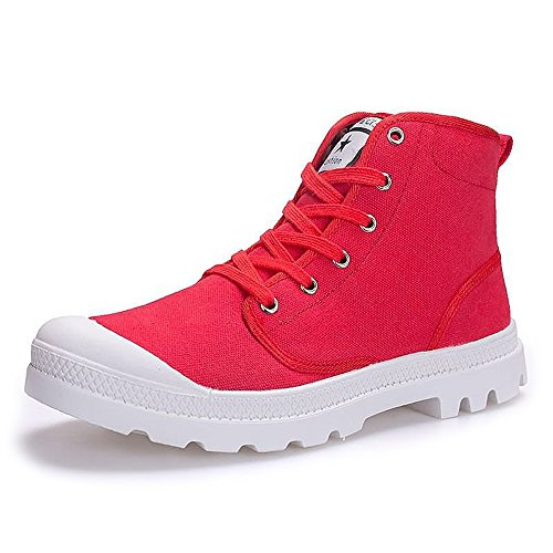 Estate/Autunno 2018 Sneaker moda uomo e donna Large Size High Top Canvas Shoes Stringate antiscivolo Outsole fino alla taglia 47EU (Color : Rosso, Dimensione : 41 EU)