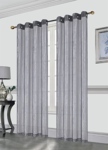 Kashi Home Sasha Decorative Foil Printed Sheer Window Curtain Panel With Metal Grommets, 54x84 Inch, 2 Pack (Gray) ()