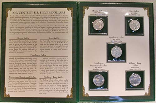 20 th Century (5) U.S. Silver Dollars by the Postal Commemorative Society Brilliant Uncirculated - Peace Dollars Commemorative Coins