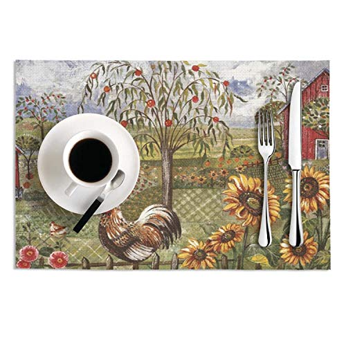 Sunflower And Rooster Table Mats PVC Heat-resistance Place Mats,dries Very Quickly Non-Slip Place Mats For Offices SET Of 2