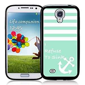 Cool Painting Galaxy S4 Case - S IV Case - ;Turquoise Solid Stripes White Anchor Refuse To Sink Samsung Galaxy i9500 Case Snap On Case