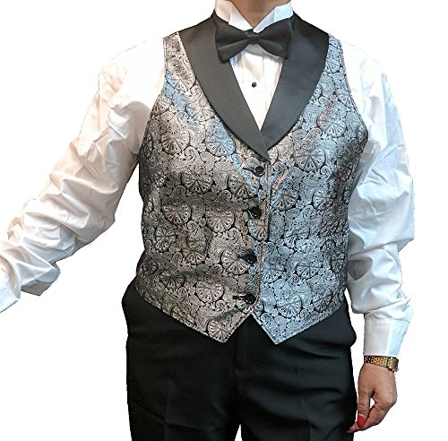 (SixStarUniforms Womens Silver Symphony Jacquard Tuxedo Vest with Black Lapel and Black Bow Tie Set 2XL)
