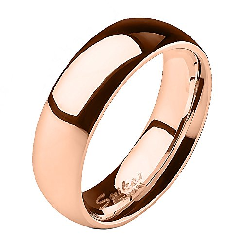 Jinique TIR-0008 Solid Titanium Rose Gold IP 6mm Wide Classic Band Ring; Comes With Box (Classic Solid Wide Band)