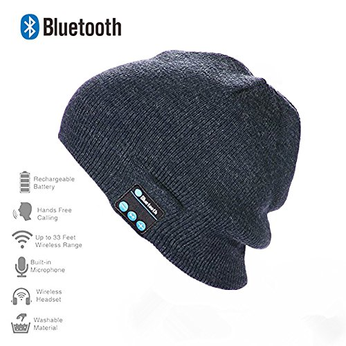 Happy-top Bluetooth Music Soft Warm Beanie Hat Cap with Stereo Headphone Headset Speaker Wireless Mic Hands-free for Men Women Gift (Dark Grey)