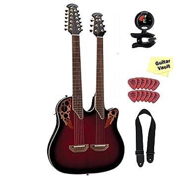 Ovation cse225-rrb Celebrity doble cuello rojo rubí ráfaga Electroacústica guitarra Bundle: Amazon.es: Instrumentos musicales