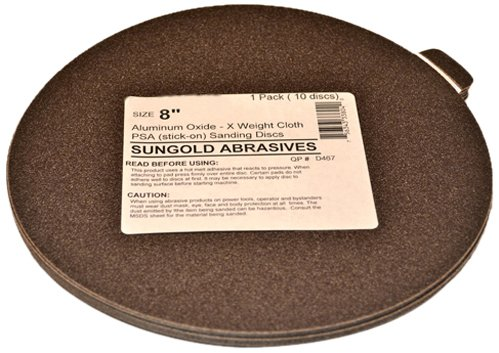 Sungold Abrasives 336039 40 Grit 6-Inch X-Weight Cloth Premium Industrial Aluminum Oxide PSA Stick-On Sanding Discs For Stationary Sanders 10 Sanding DiscsPack