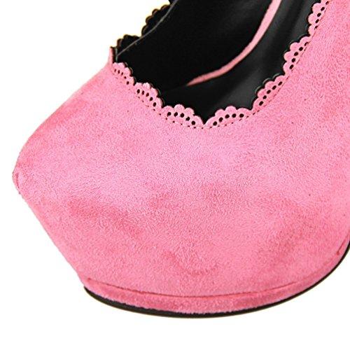 HooH Women's Sexy Platform Hollow Out Lace Setiletto Pump Pink huxWRMrAR